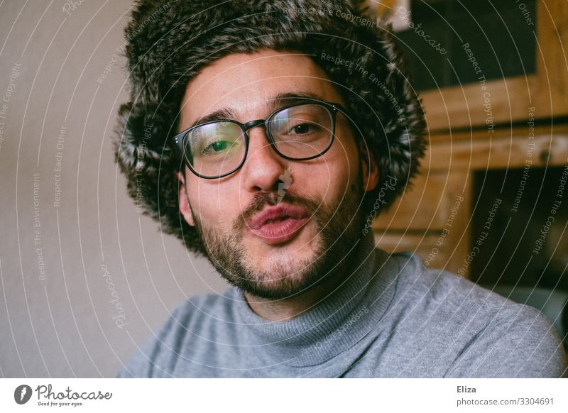 Human being Youth (Young adults) Man Beautiful Young man 18 - 30 years Adults Love Masculine Romance Eyeglasses Pelt Infatuation Facial hair Kissing Cap
