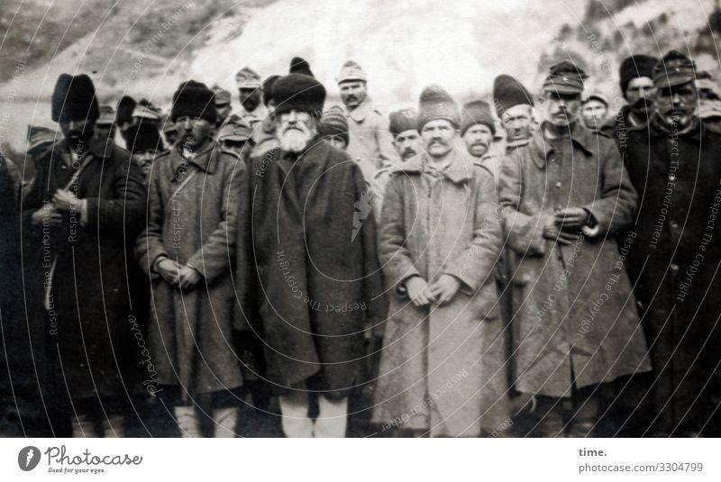 Contemporary History | Prisoners of War 1916 captives men Weapons Stand group captivity belligerent first world war Romania Siebenbürgen Coat Hat Cap Fate