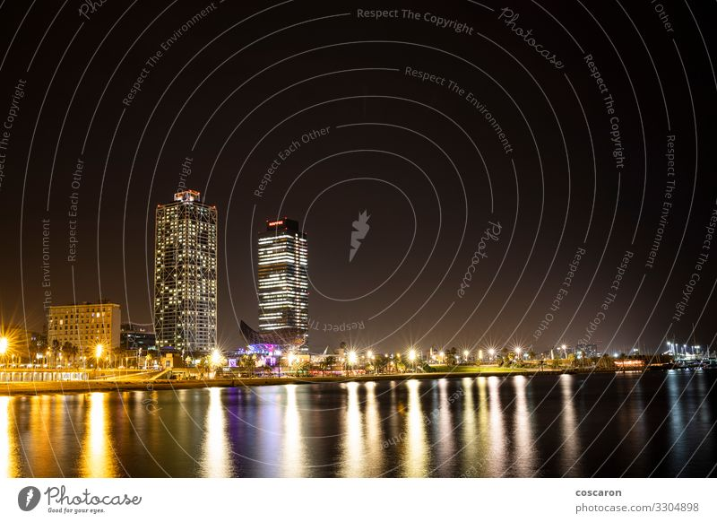 The coast of Barcelona by night Vacation & Travel Old Town Water Beach Black Architecture Coast Building Facade Elegant Fantastic Shopping Energy