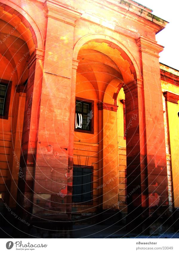 Sun Yellow Window Stone Bright Orange Architecture Door Gate Entrance Column Frame Wood grain Fortress Portal Frontier fortifications