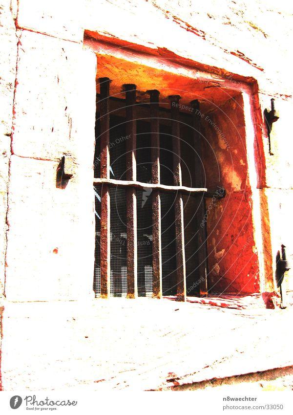 No escape? Window Grating Fortress Frontier fortifications White Hinge Architecture Ehrenbreitstein Sun Bright Orange ok Contrast Frame Stone Wood grain