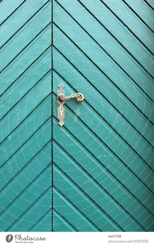 Door with brass handle Small Town Downtown Deserted Castle Wood Metal Green Turquoise Front door Brass Door handle Crazy Pattern Historic Historic Buildings