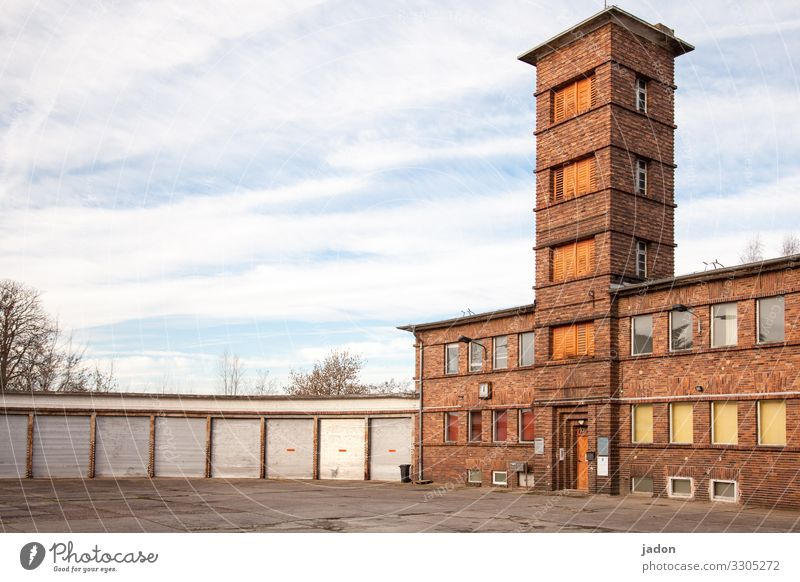 tower building. House (Residential Structure) Dream house Workplace Clock Sky Brandenburg an der Havel Town Outskirts Skyline Deserted Places Tower
