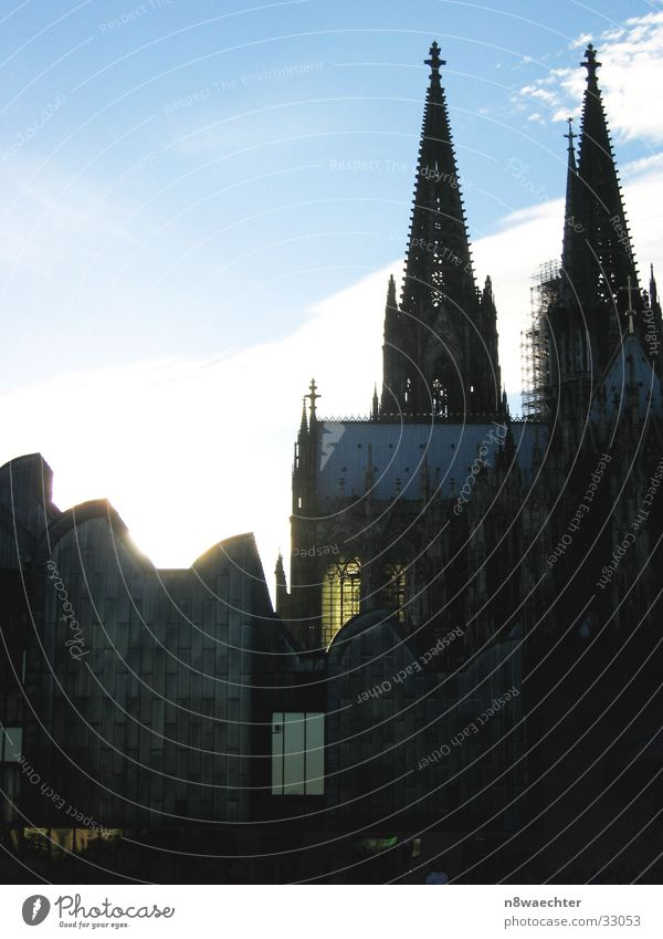 Museum and Cathedral Cologne Window Lighting Clouds House of worship Dome Old New Contrast Sun Tower Sky Blue