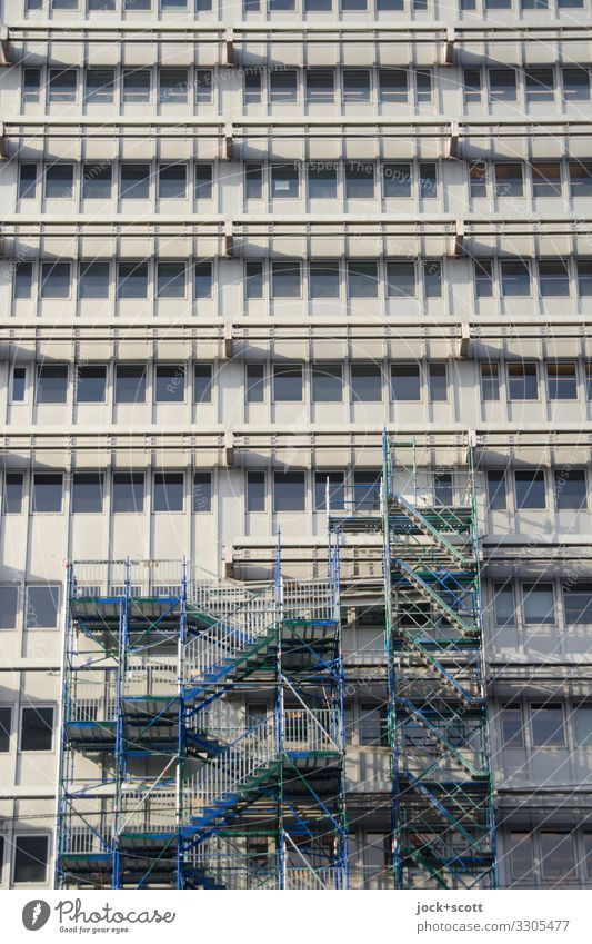 If it's all facade Construction site Architecture Beautiful weather Downtown Berlin High-rise Office building Building Window Scaffold Authentic Sharp-edged