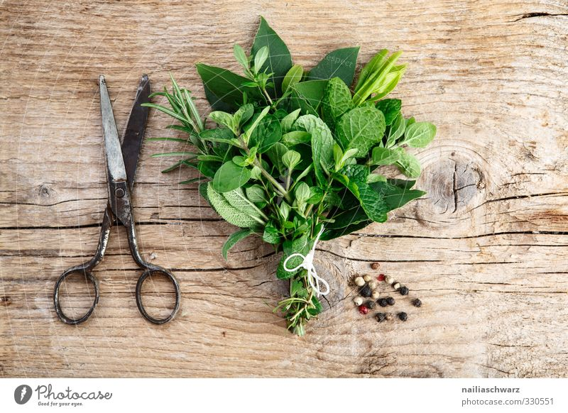 herb bouquet Food Herbs and spices Rosemary Mint Bay leaf Oregano thyme plants Peppercorn Nutrition Organic produce Vegetarian diet Italian Food Scissors Wood
