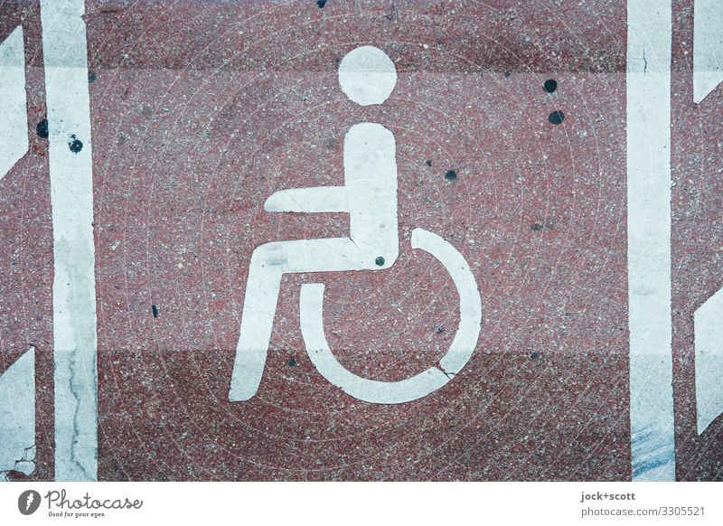 Parking for disabled persons Parking lot Signs and labeling Disability friendly Pictogram Free Under Arrangement Symmetry Surface structure Asphalt Site