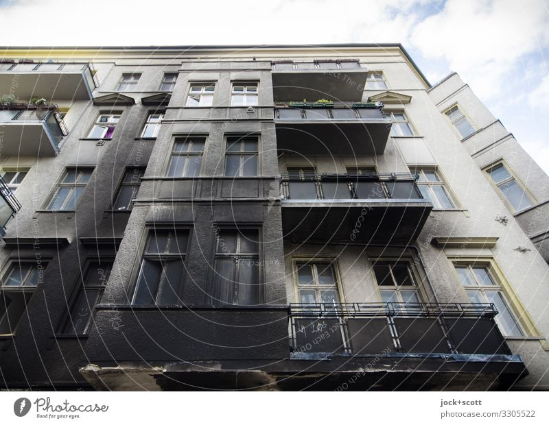 burn mark Town house (City: Block of flats) Facade Balcony Soot Authentic Dirty Transience Change Destruction Events Structures and shapes Worm's-eye view