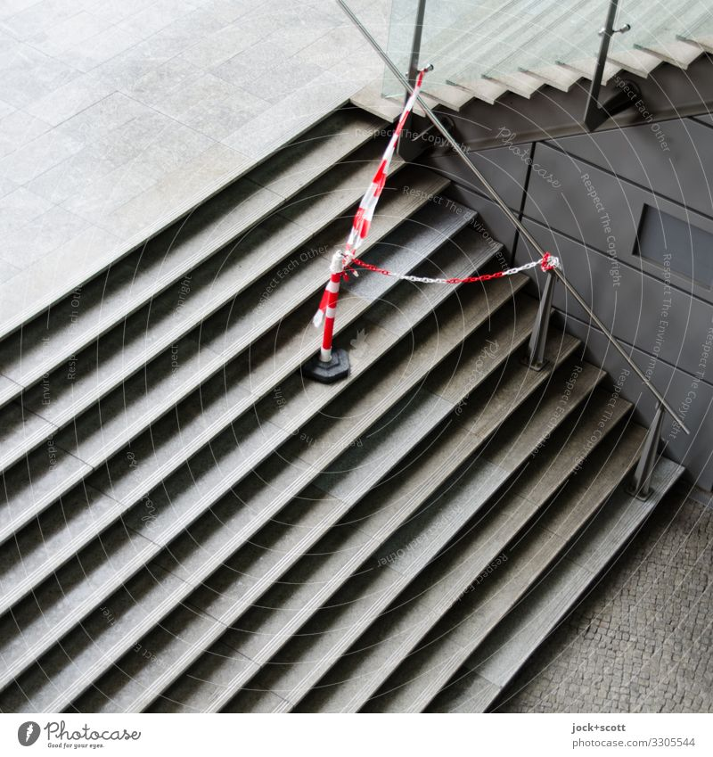 Stairs, warning tape Lanes & trails Barrier Banister Stone Authentic Sharp-edged Modern Under Gray Safety Conscientiously Orderliness Problem solving