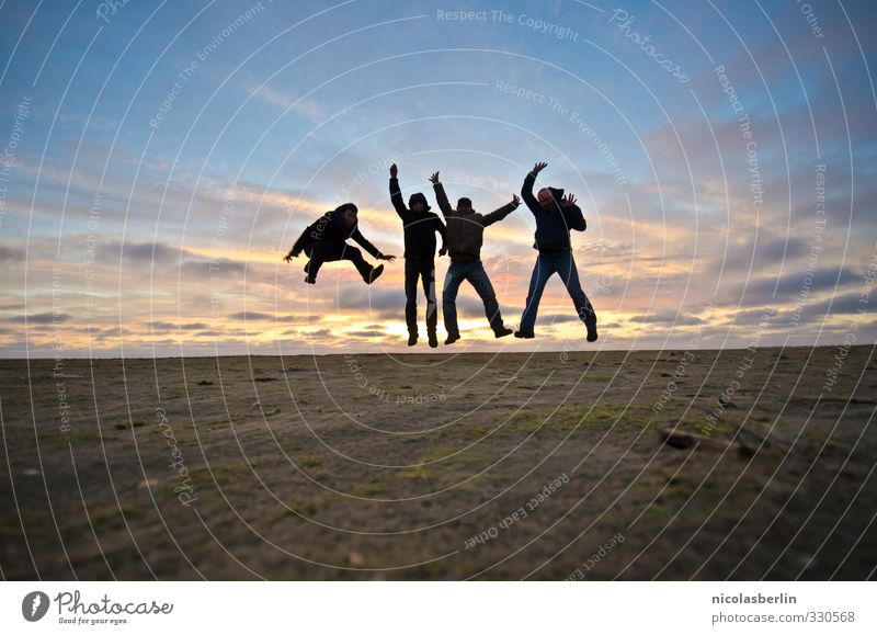 Human being Vacation & Travel Joy Beach Life Playing Coast Happy Jump Group Friendship Leisure and hobbies Power Success Happiness Adventure