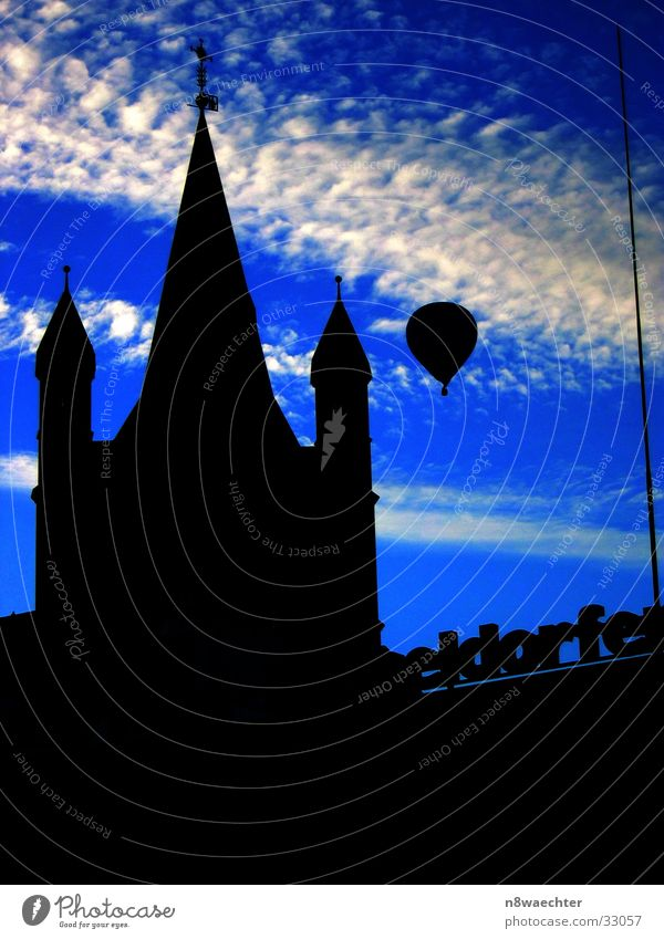 Sky White Blue Clouds Religion and faith Aviation Tower Cologne Hot Air Balloon Old town