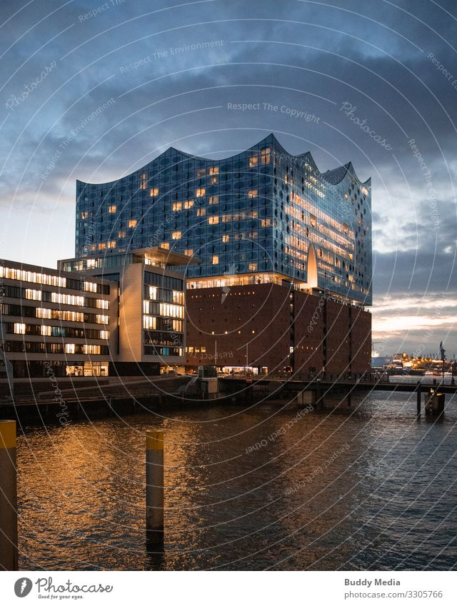 Elbphilharmonie (Elphi) in Hamburg Water Sky Clouds Night sky Sunrise Sunset River bank Elbe Germany Town Port City Downtown Old town