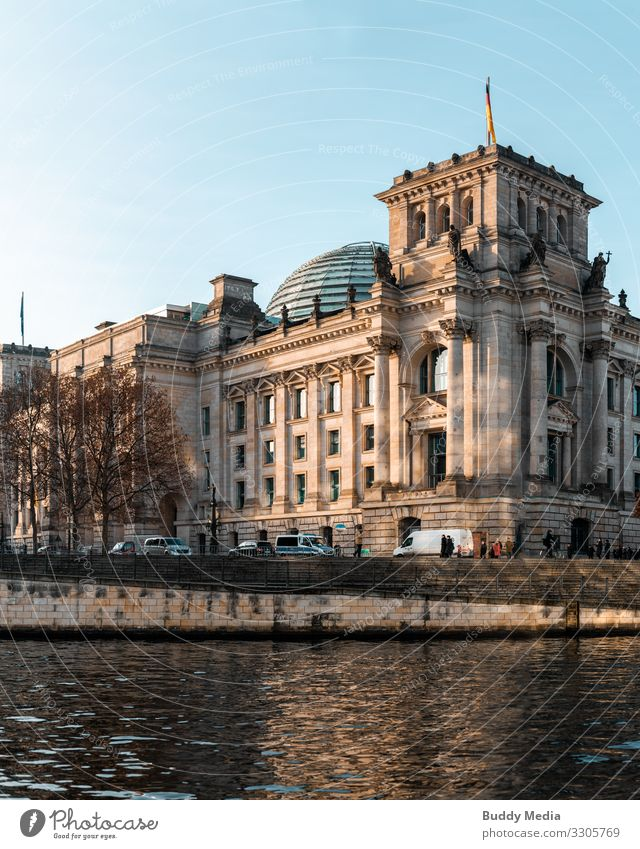 Reichstag building in the morning, Berlin Tourism Trip Politics and state Government Seat of government Sky Cloudless sky Beautiful weather Germany Capital city