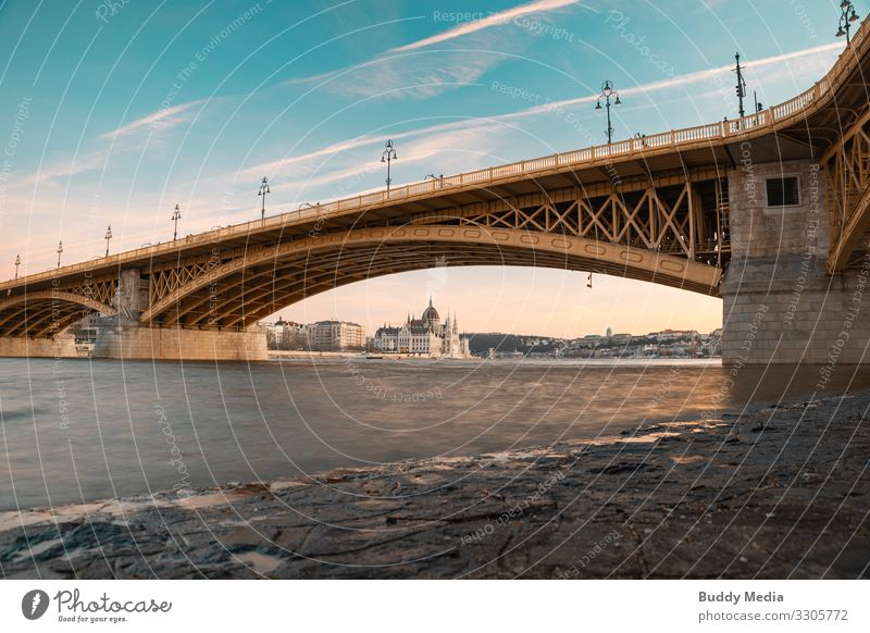 View from Margaret Island of Budapest's parliament building Beautiful weather River bank Beach Danube Hungary Capital city Downtown Outskirts Skyline Bridge