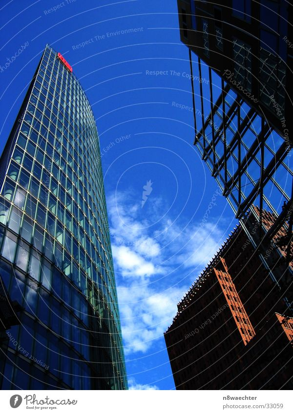 Sky Blue Berlin Architecture High-rise Perspective Steel carrier Potsdamer Platz