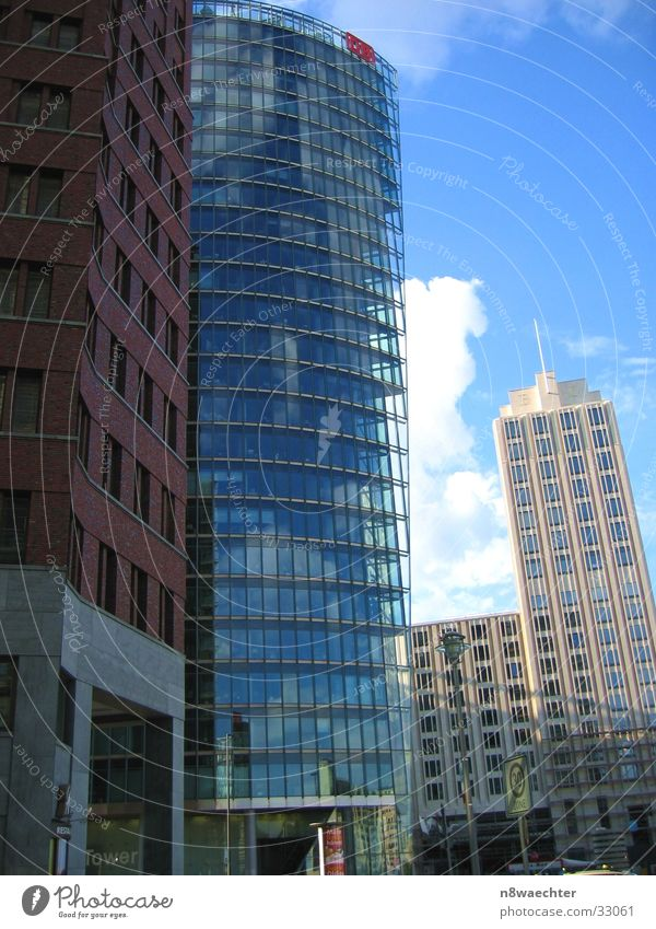 Witty Potsdamer Platz Glas facade Reflection Building Architecture DB tower Berlin Sky Perspective conglomerate