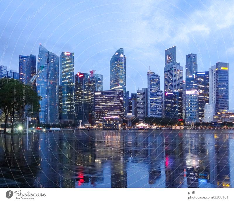 Singapore skyline Island House (Residential Structure) Culture Town Skyline High-rise Manmade structures Building Architecture Facade Landmark Glittering Wet