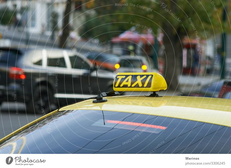 Yellow cab with taxi sign on roof Vacation & Travel Tourism Trip Business Transport Street Car Taxi Logistics background City Icon Illuminate