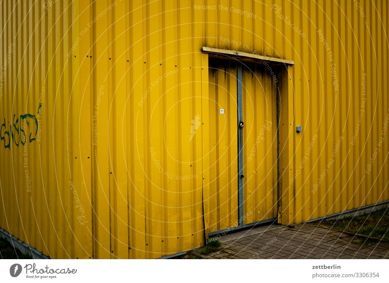 Yellow Hall Warehouse Storage Corrugated sheet iron Corrugated iron roof Corrugated-iron hut Corrugated iron wall Door Gate Entrance Way out Logistics Barn