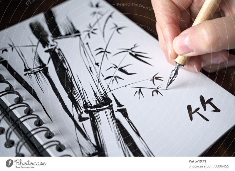 Human being Plant Hand Art Characters Esthetic Creativity Wellness Draw Exotic Drawing Artist Painter Bamboo Chinese Ink
