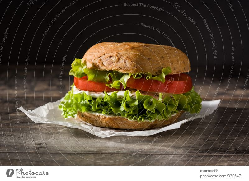Vegetable bagel sandwich Bagel Sandwich Food Healthy Eating Food photograph Meal Tomato Mozzarella Lettuce Cheese Snack Vegetarian diet Delicious Baking Bread