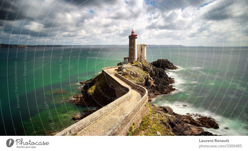 View of the lighthouse Phare du Petit Minou Vacation & Travel Tourism Ocean Nature Rock Coast Bridge Lighthouse Blue France Atlantic Ocean bretagne Brittany