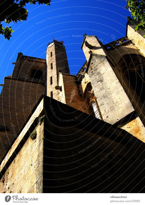 The towers to heaven... Church spire Wall (barrier) Window Southern France House of worship Religion and faith Sky Blue Poilhes Sun Shadow