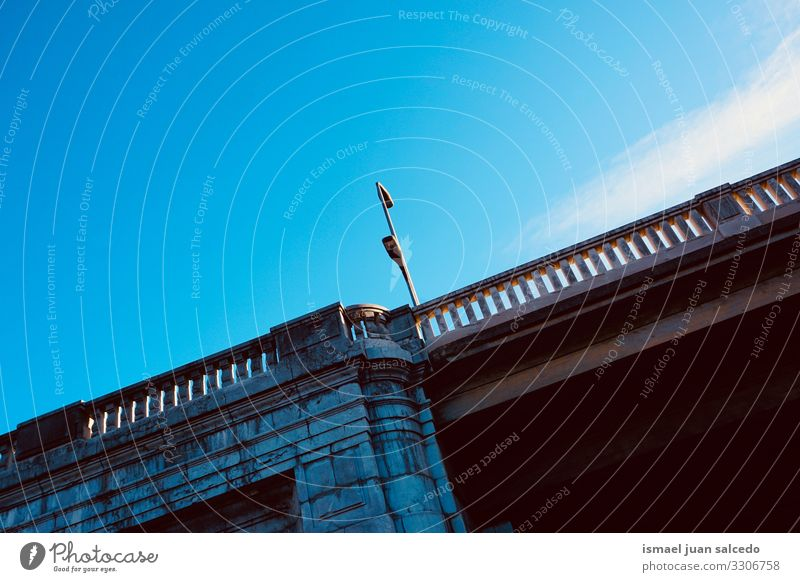 bridge architecture on the street in Bilbao city Spain path park sky outdoors fence structure construction background bilbao spain Exterior shot