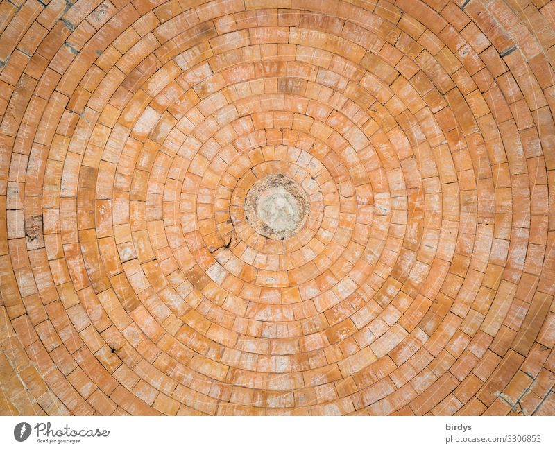 Dome from below Architecture Vault Domed roof Stone Brick Line Circle Center point Authentic Large Positive Round Yellow Orange Esthetic Design Culture Town