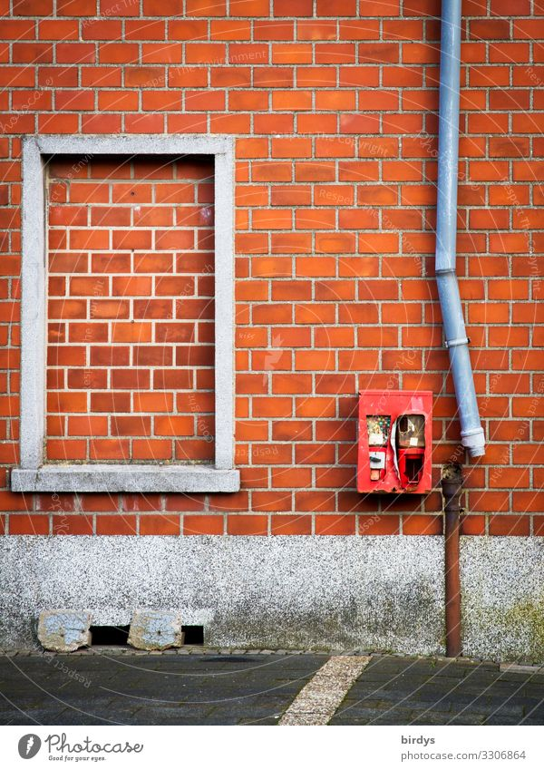 Old Red Window Wall (building) Senior citizen Wall (barrier) Facade Gray Infancy Authentic Transience Broken Change Past Fear of the future Village