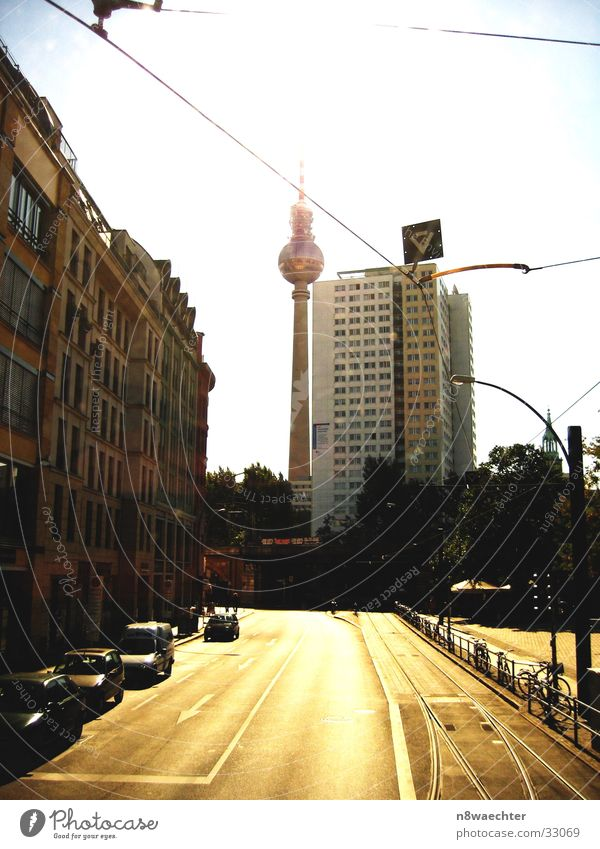 Sun House (Residential Structure) Street Berlin Architecture High-rise Railroad tracks Berlin TV Tower Tram Overhead line