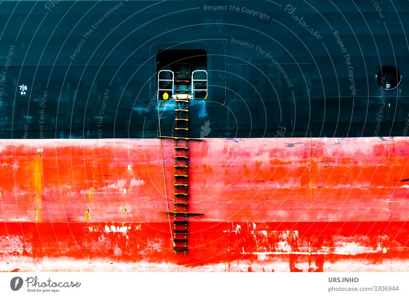 Backbord eines Containerschiffes mit Lotsenleiter Navigation Cruise Container ship Metal Steel Red Black White Watchfulness Fear of heights Colour Logistics