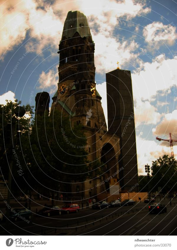 Sky Clouds Berlin Car Religion and faith Roof Tower House of worship Church clock Gedächtnis Kirche