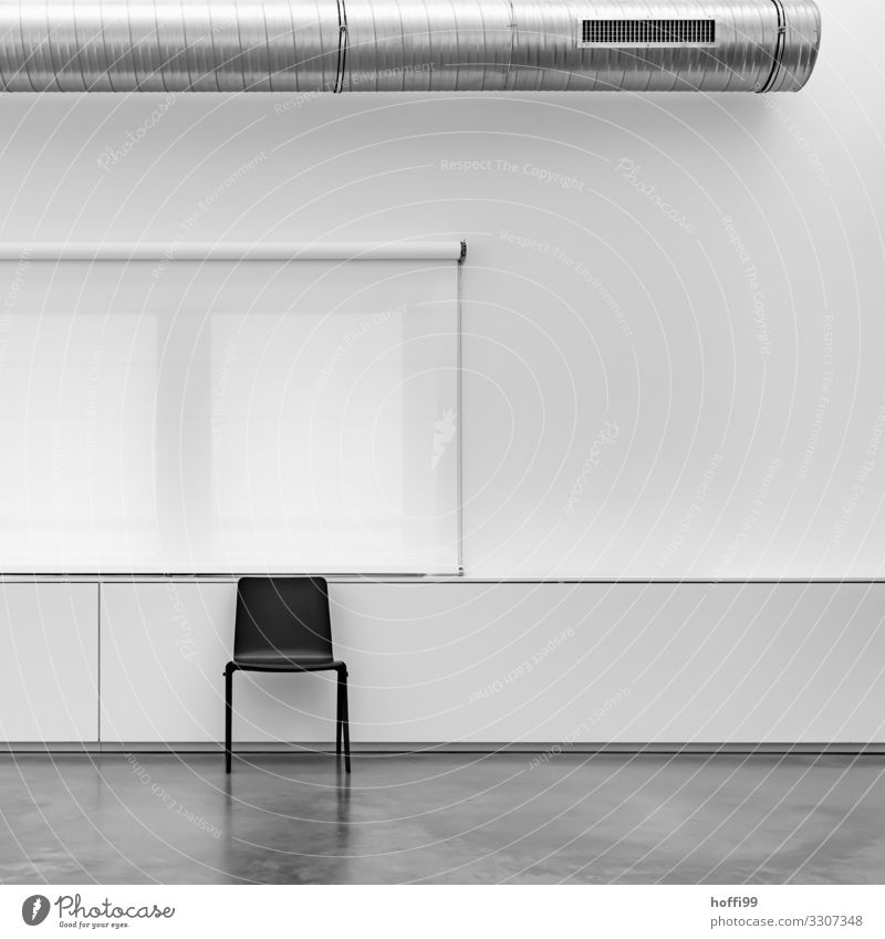 black chair in front of white roller blind and white wall and exhaust air system Building Wall (barrier) Wall (building) Window Chair Roller blind