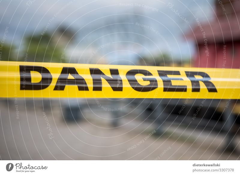 Danger Environment Climate change Dangerous flutterband Barrier danger Risk Passage Colour photo