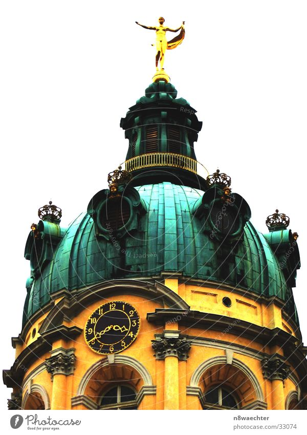 Charlottenburg 15:40 Domed roof Roof Yellow Green Patina Clock Window Architecture Castle Tower Gold Decoration