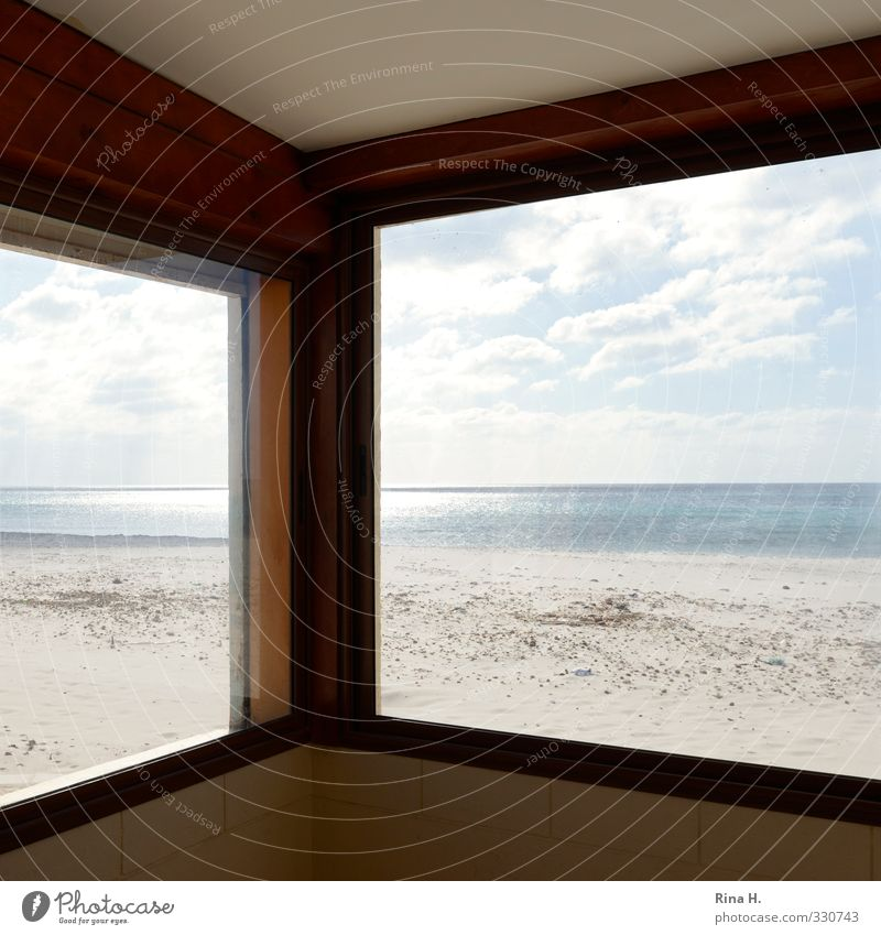 Sky Vacation & Travel Sun Ocean Loneliness Clouds Beach Window Wall (building) Wall (barrier) Bright Art Horizon Empty Beautiful weather View from a window