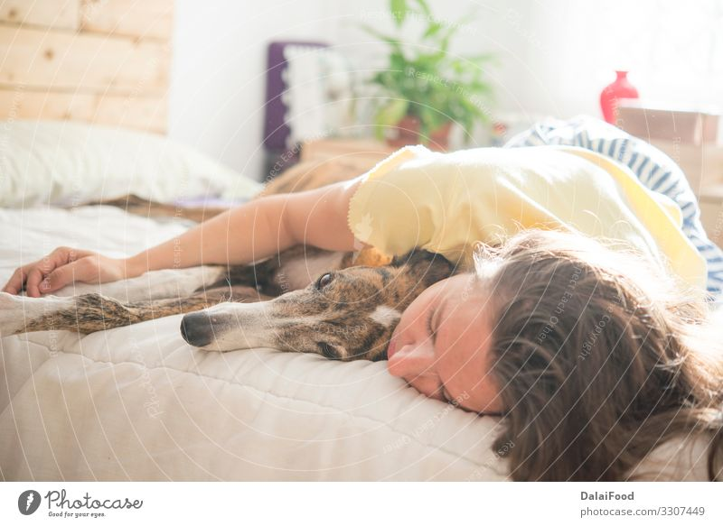Woman and dog in the bedroom Lifestyle Joy Happy Relaxation House (Residential Structure) Bedroom Child Human being Adults Man Mother Family & Relations Couple