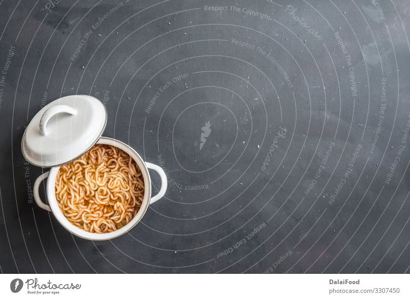 noodles with chicken meat in bowl on dark stone background Dish Fresh Delicious Vegetable Tradition Gastronomy Asia Hot Restaurant Plate Dinner Meat Meal Lunch