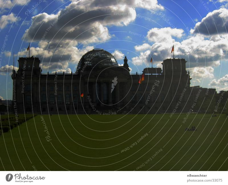 Dark clouds over the Reichstag Clouds Meadow Flag Architecture Sky Germany Contrast Sun Berlin