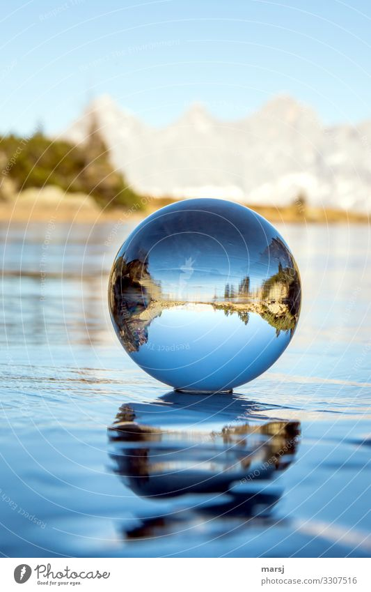 Vacation & Travel Blue Calm Winter Mountain Cold Exceptional Ice Frost Harmonious Meditation Sphere Blue sky Winter vacation Glass ball Spherical