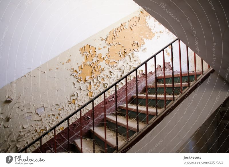 Staircase to remember & forget lost places Ruin Military building Wall (building) Staircase (Hallway) Banister Stairs Authentic Dirty Symmetry Decline Past
