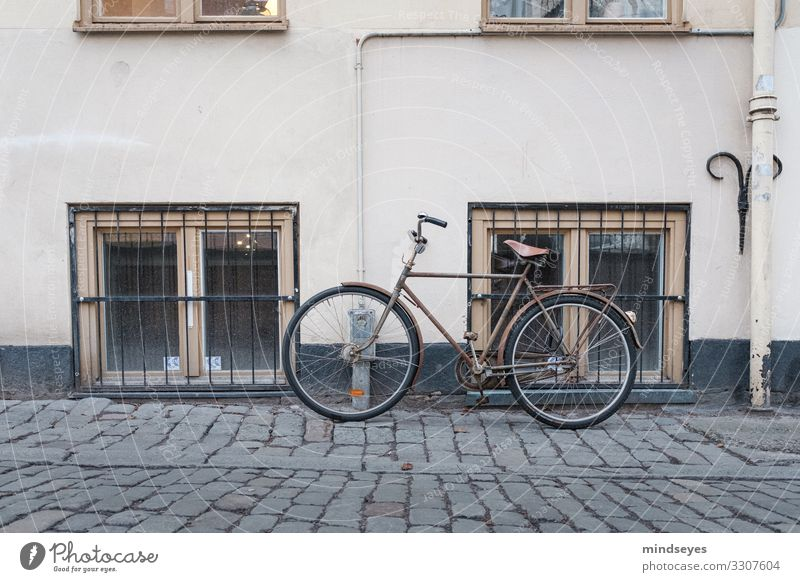 Beige bicycle leaning against house wall Style Leisure and hobbies Cycling Tourism City trip Winter Stockholm Old town Deserted Facade Window Cobblestones