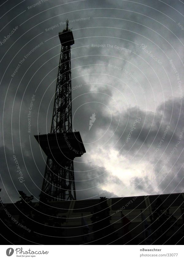 Radio tower Messe Berlin Transmitting station Broadcasting station White Dark Clouds Architecture Tower Silhouette black Black & white photo Tall Contrast Crazy