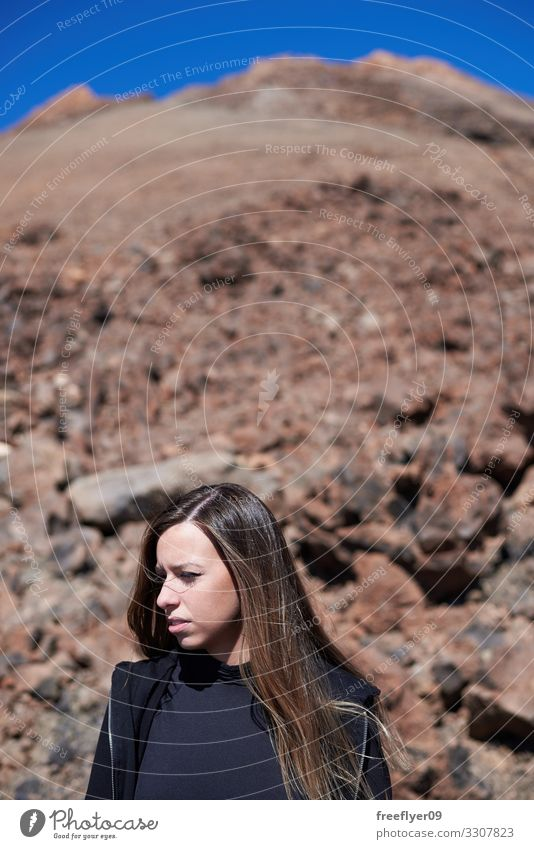 Portrait of a woman on the Teide top Lifestyle Face Vacation & Travel Adventure Freedom Mountain Hiking Human being Feminine Young woman Youth (Young adults)