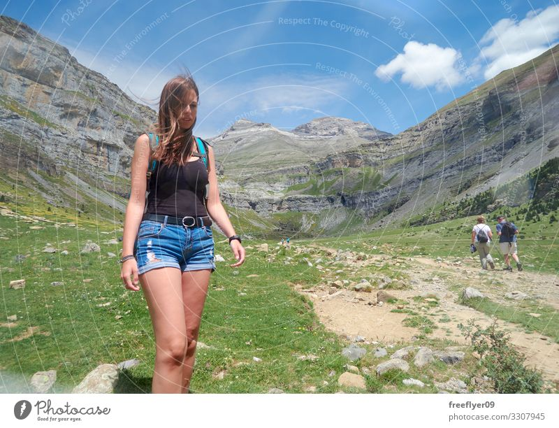 Young woman Hiking Woman Human being Vacation & Travel Nature Youth (Young adults) Summer Plant Blue Beautiful Green Landscape Tree Flower Clouds Forest