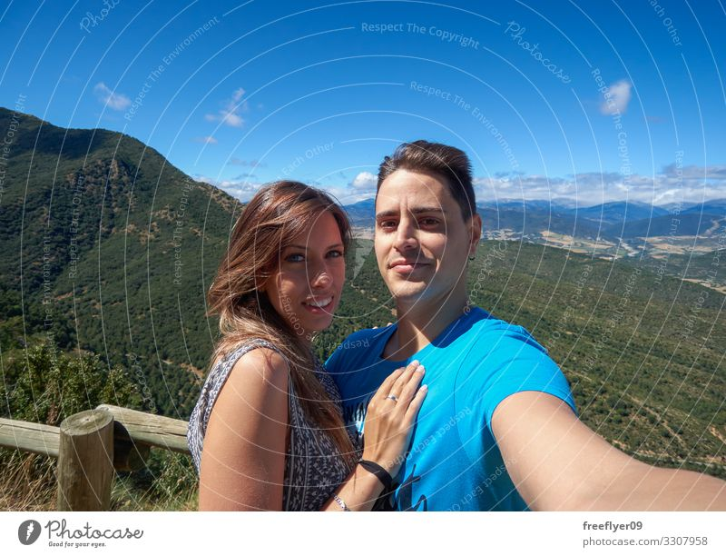 Couple taking a selfie in the Nature Woman Human being Vacation & Travel Youth (Young adults) Man Young woman Young man Landscape Joy 18 - 30 years Lifestyle