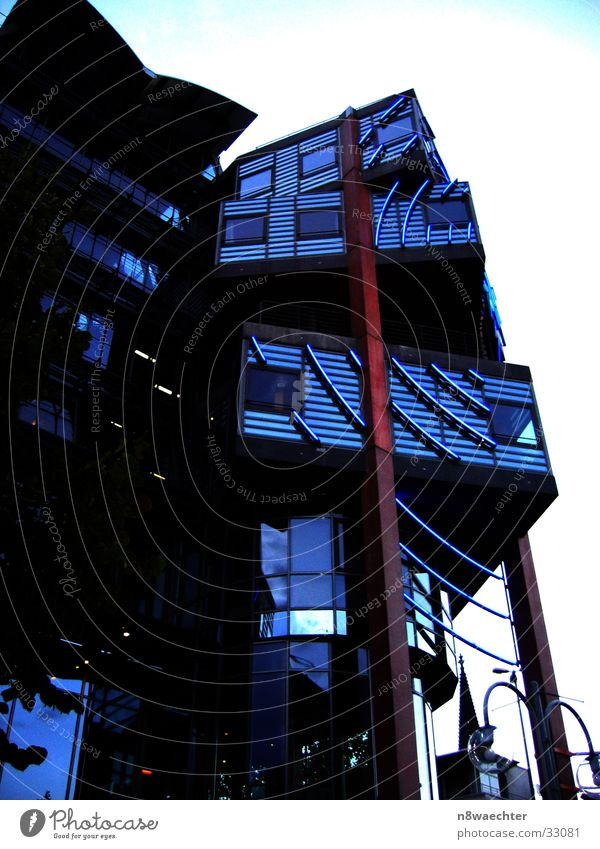 Blue Red Architecture Brown Modern Cologne Construction Pole Neon sign Carrier WDR