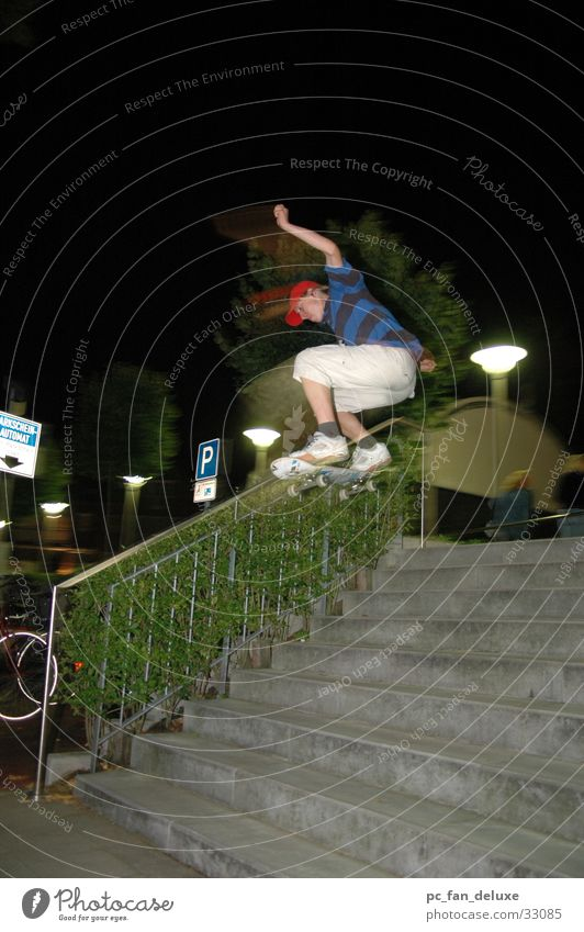 Ollie 9s Night Wide angle Sports Skateboarding Stairs