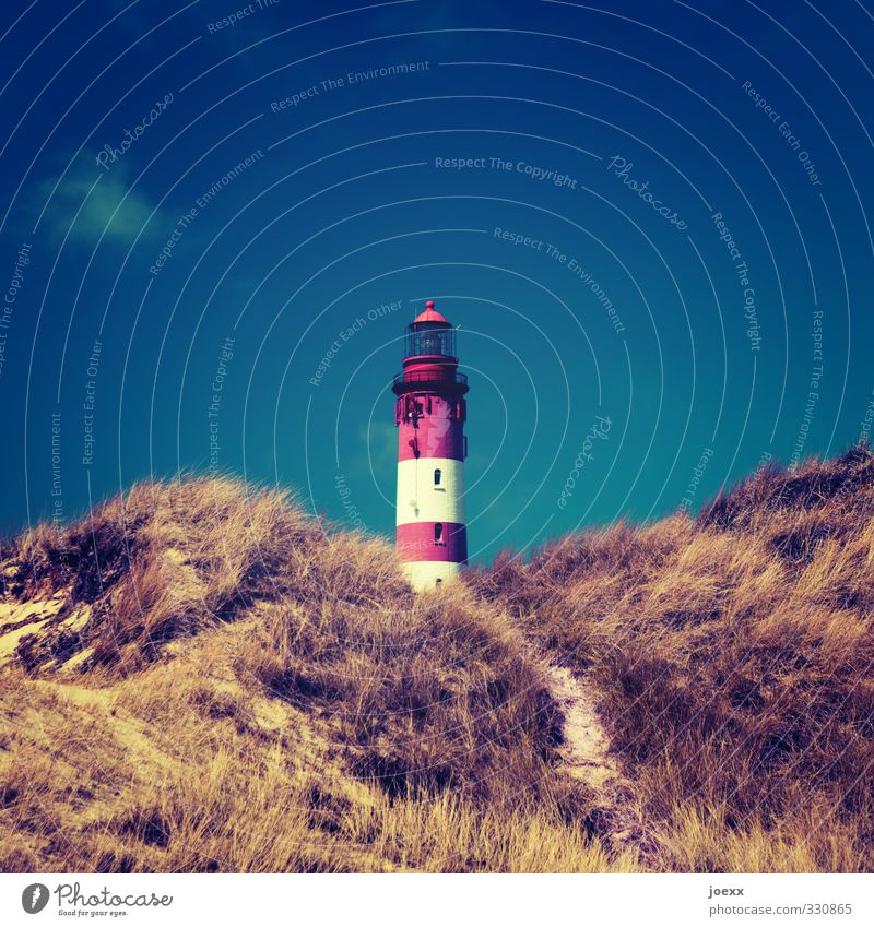 power saving mode Landscape Sky Summer Beautiful weather Grass Hill North Sea Lighthouse Old Large Tall Retro Blue Brown Red White Horizon Idyll Safety Amrum